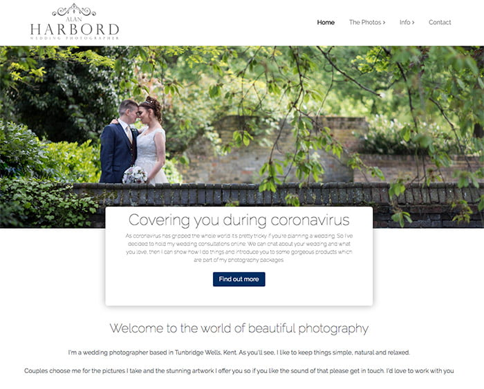 Screengrab of Alan Harbord Photography website